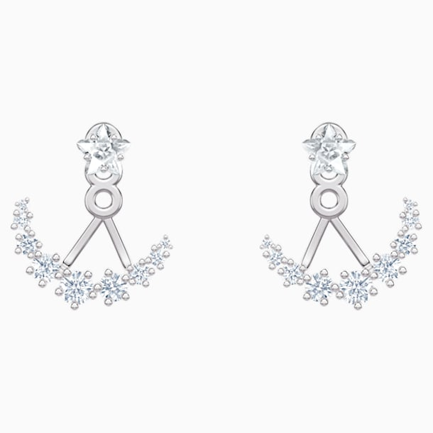 Moonsun Pierced Earring Jackets, White, Rhodium plated - Swarovski, 5508832
