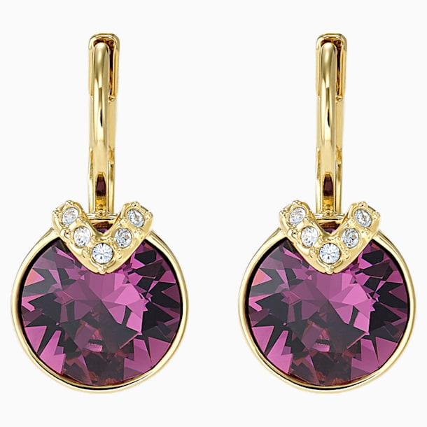 Bella V 穿孔耳環, 紫色, 鍍金色色調 - Swarovski, 5509404