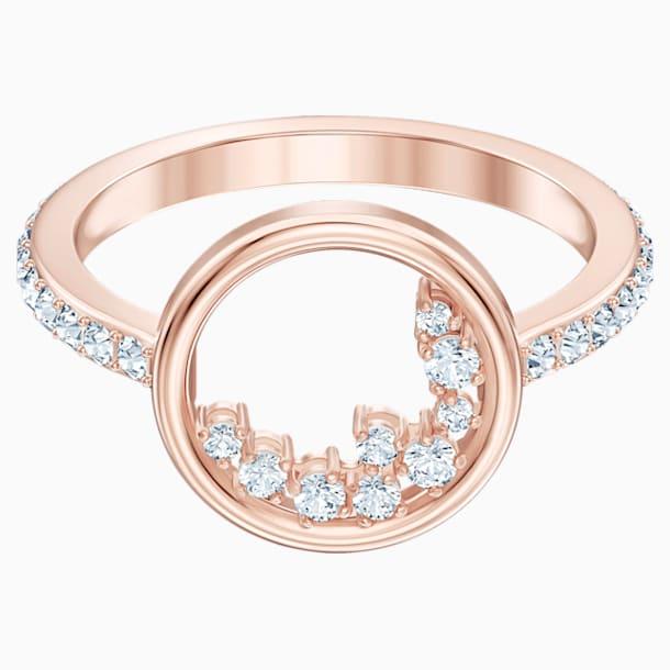 North Motif Ring, White, Rose-gold tone plated - Swarovski, 5509660