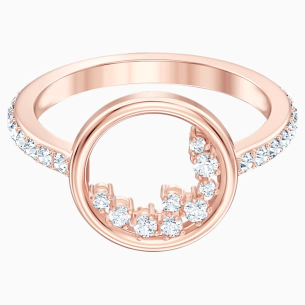 North Motif Ring, White, Rose-gold tone plated - Swarovski, 5509677