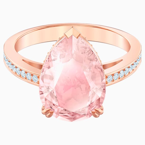 Koktejlový prsten Vintage, Růžový, Pozlacený růžovým zlatem - Swarovski, 5509678