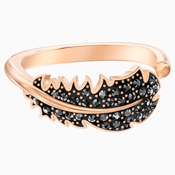 Naughty Motif Ring, Black, Rose-gold tone plated - Swarovski, 5509681