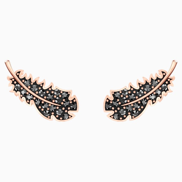 Naughty Pierced Earrings, Black, Rose-gold tone plated - Swarovski, 5509722