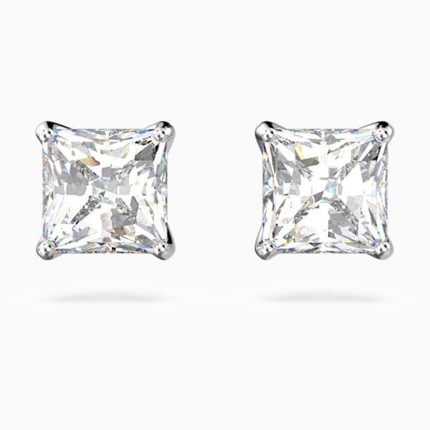 Attract Pierced Earrings, White, Rhodium plated - Swarovski, 5509936