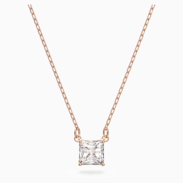 Attract Necklace, White, Rose-gold tone plated - Swarovski, 5510698