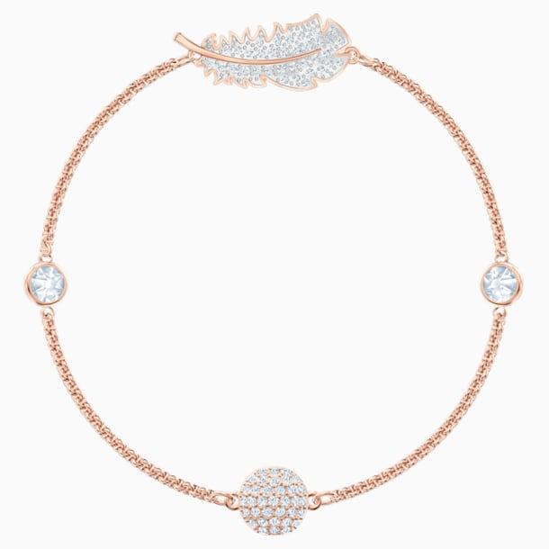 Swarovski Remix Collection Feather Strand, blanco, Baño en tono Oro Rosa - Swarovski, 5511088