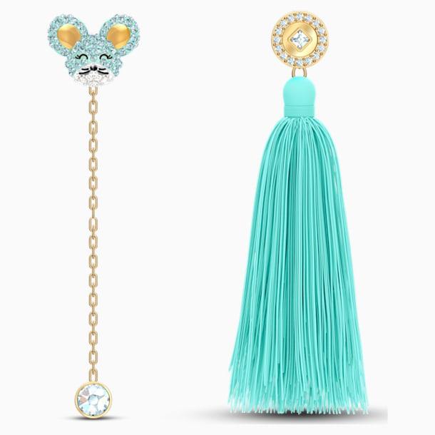 Little 穿孔耳環, 海藍色, 多種金屬潤飾 - Swarovski, 5511161