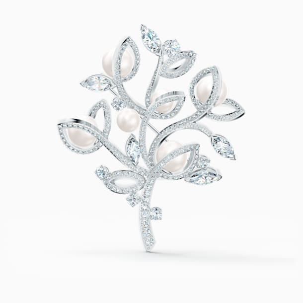 Leonore Tree Brooch, White, Rhodium plated - Swarovski, 5511166