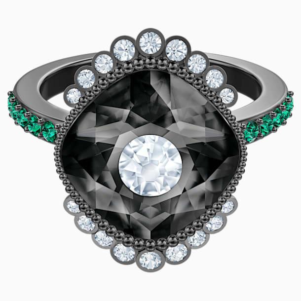 Black Baroque Motif Ring, Multi-coloured, Ruthenium plated - Swarovski, 5511389