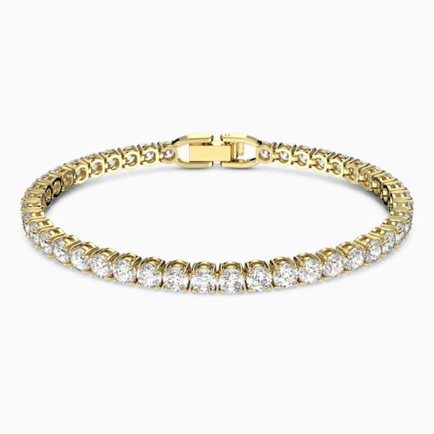 Bransoletka Tennis Deluxe, biała, w odcieniu złota - Swarovski, 5511544