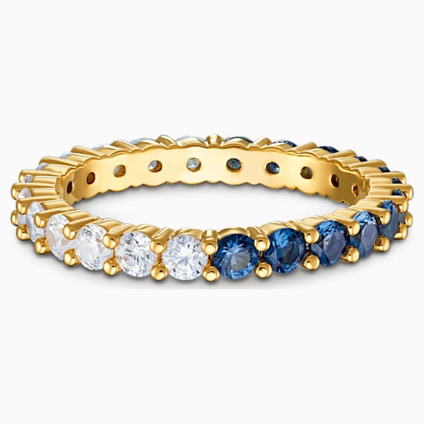 Anello Vittore Half XL, azzurro, placcato color oro - Swarovski, 5511562