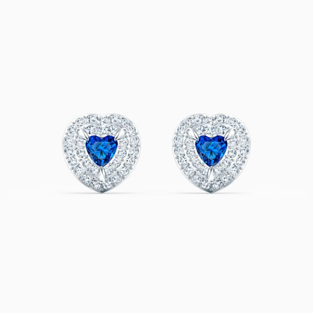 One Stud Pierced Earrings, Blue, Rhodium plated - Swarovski, 5511685