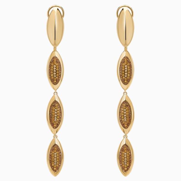 Evil Eye Drop Pierced Earrings, Long, Brown, Gold-tone plated - Swarovski, 5511785