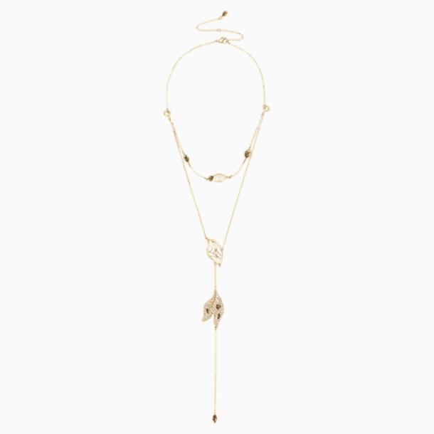 Graceful Bloom 组合式项链, 咖啡色, 镀金色调 - Swarovski, 5511808
