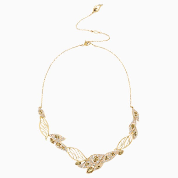 Graceful Bloom Statement Necklace, Brown, Gold-tone plated - Swarovski, 5511811