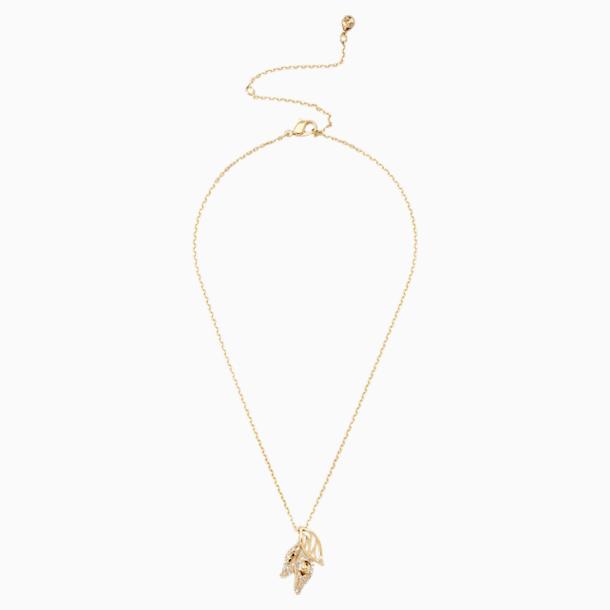 Pendentif Graceful Bloom, marron, Métal doré - Swarovski, 5511813