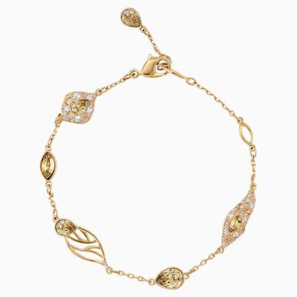Pulsera decorativa Graceful Bloom, marrón, Baño en tono Oro - Swarovski, 5511814