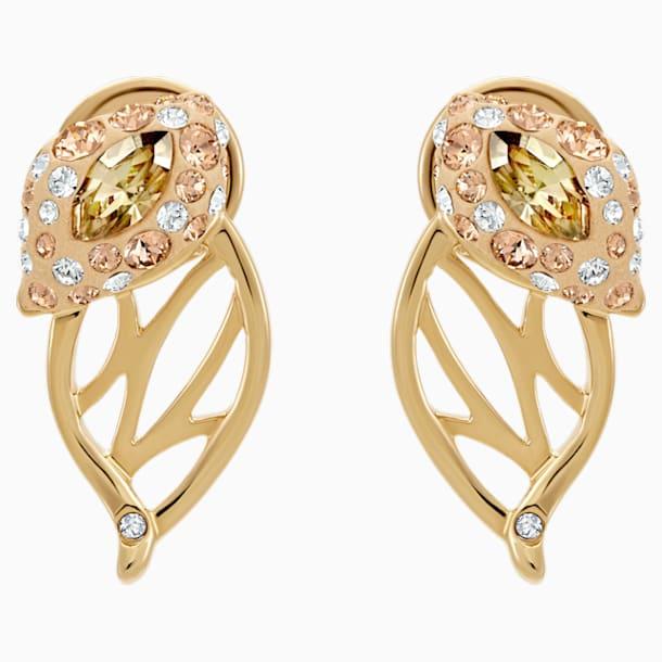 Graceful Bloom Stud Earrings, Brown, Gold-tone plated - Swarovski, 5511815