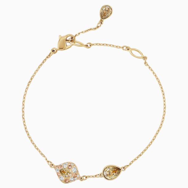 Graceful Bloom Bracelet, Brown, Gold-tone plated - Swarovski, 5511817