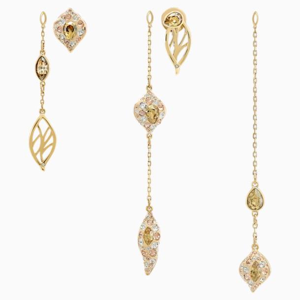 Graceful Bloom Multi 水滴形穿色耳環, 咖啡色, 鍍金色色調 - Swarovski, 5511819