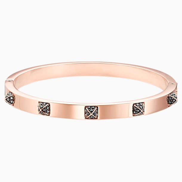 Tactic Bangle, Black, Rose-gold tone plated - Swarovski, 5511940