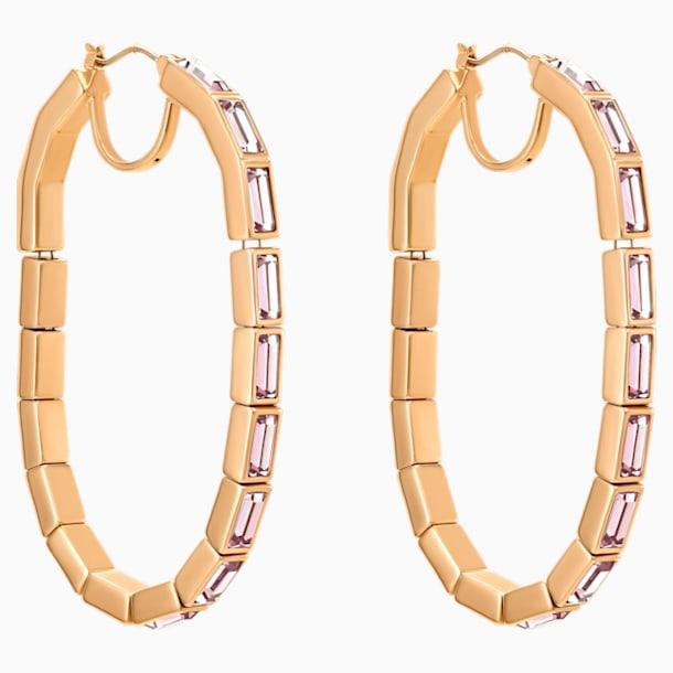 Fluid Hoop Pierced Earrings, Violet, Rose-gold tone plated - Swarovski, 5512003
