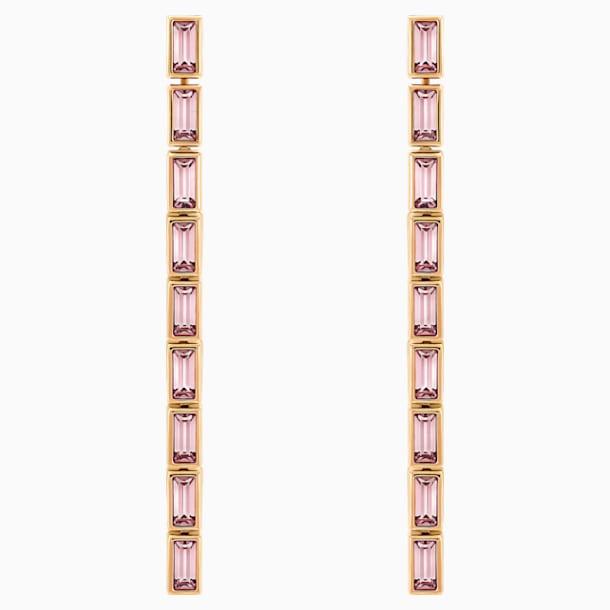 Fluid 組合式穿孔耳環, 紫羅蘭, 鍍玫瑰金色調 - Swarovski, 5512007