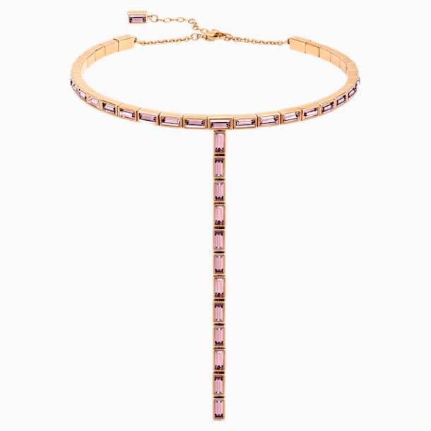Collar Fluid, lila, Baño en tono Oro Rosa - Swarovski, 5512013