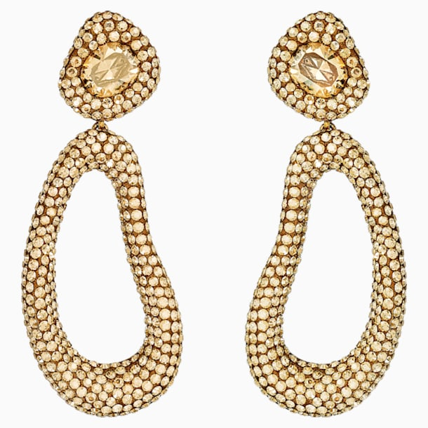 Tigris Drop Clip Earrings, Gold tone, Gold-tone plated - Swarovski, 5512348