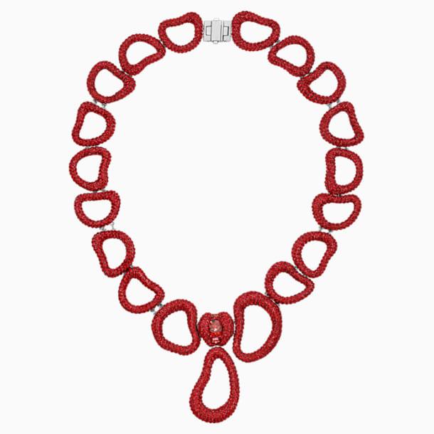 Tigris Statement Necklace, Red, Palladium plated - Swarovski, 5512353
