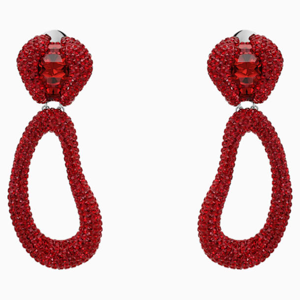 Tigris Drop Clip Earrings, Red, Palladium plated - Swarovski, 5512355