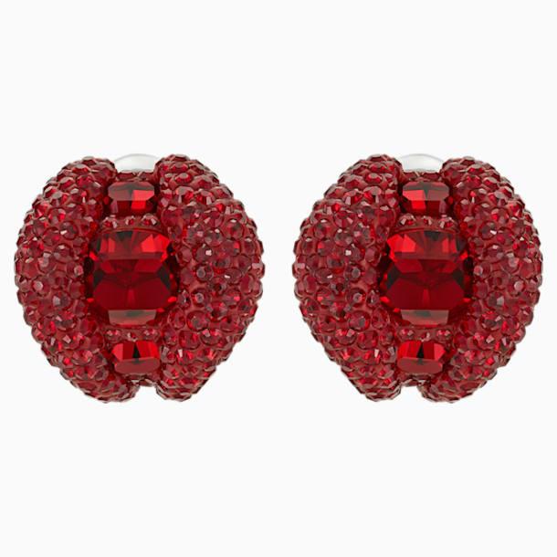 Tigris Stud Clip Earrings, Red, Palladium plated - Swarovski, 5512356