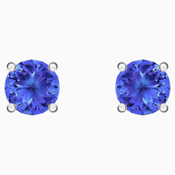 Pendientes de botón Attract, azul, Baño de Rodio - Swarovski, 5512385