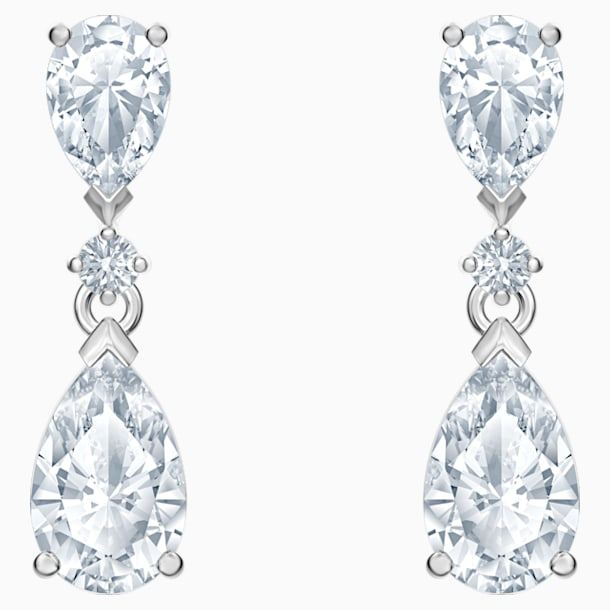 Attract Pierced Earrings, White, Rhodium plated - Swarovski, 5512393