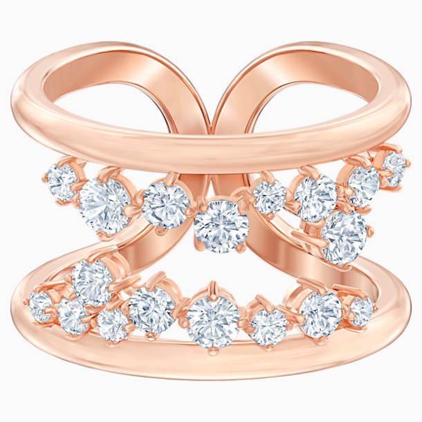 North Motif Ring, White, Rose-gold tone plated - Swarovski, 5512431