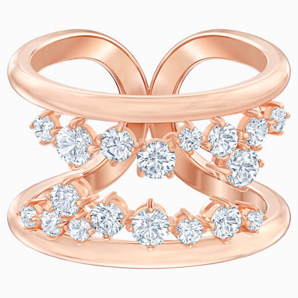 North Motif Ring, White, Rose-gold tone plated - Swarovski, 5512432