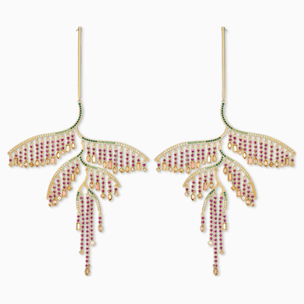 Tropical Leaf Pierced Earrings, Dark multi-colored, Mixed metal finish - Swarovski, 5512463