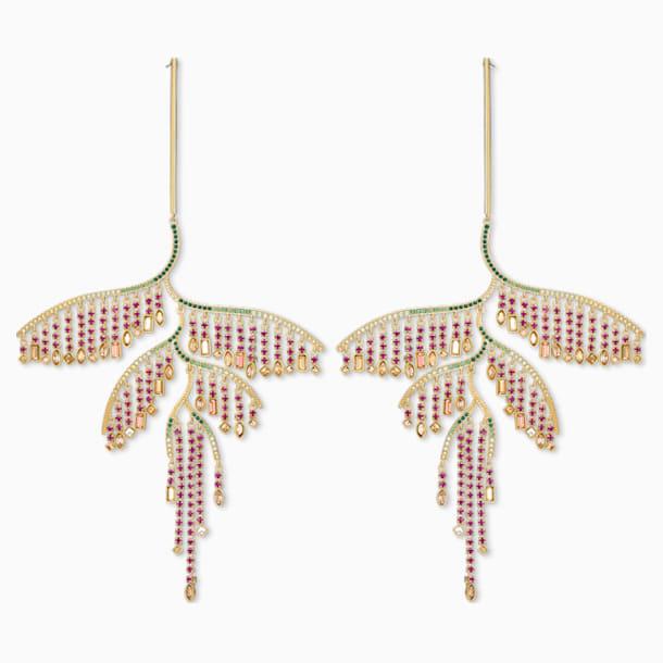 Tropical Leaf İğneli Küpeler, Koyu renkli, Karışık metal bitiş - Swarovski, 5512463
