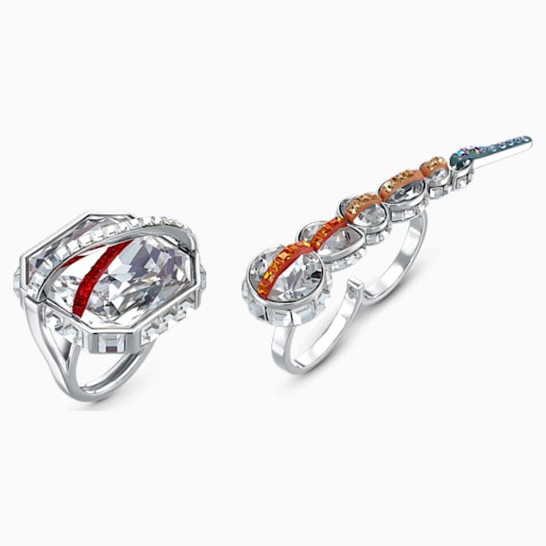 Spectrum Shine Ring Set, Red, Rhodium plated - Swarovski, 5512469