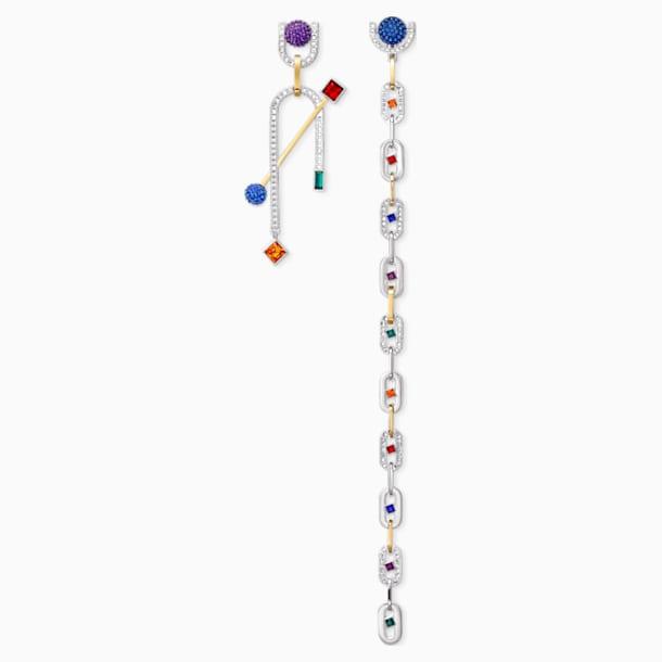 Spectacular Pierced Earrings, Dark multi-colored, Mixed metal finish - Swarovski, 5512470