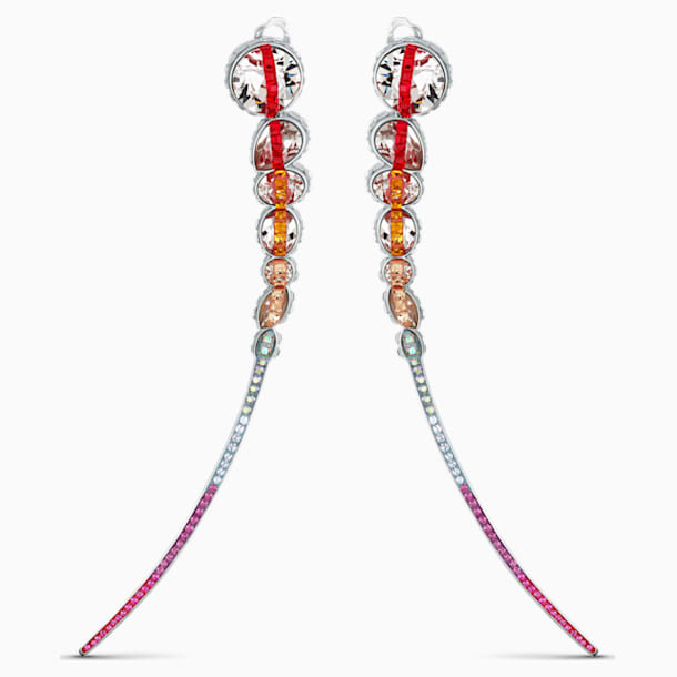 Spectrum Shine Clip Earrings, Red, Rhodium plated - Swarovski, 5512472