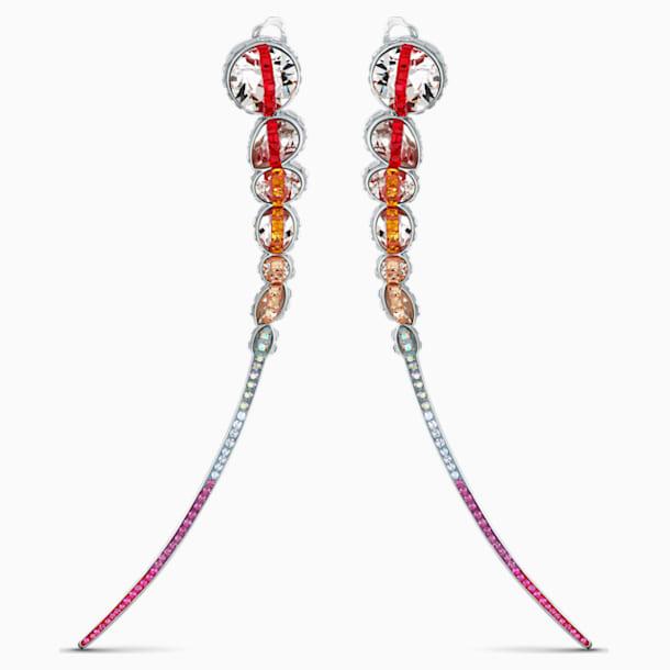 Spectrum Shine 夾式耳環, 紅色, 鍍白金色 - Swarovski, 5512472