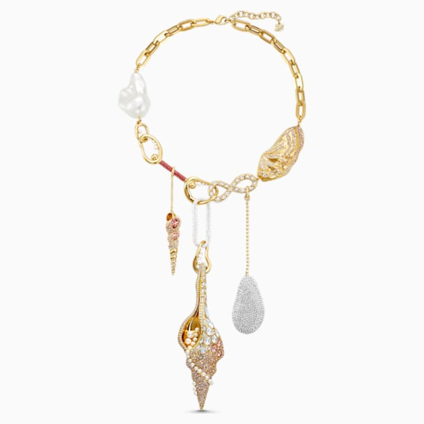 Sculptured Shells Necklace, Light multi-colored, Gold-tone plated - Swarovski, 5512475