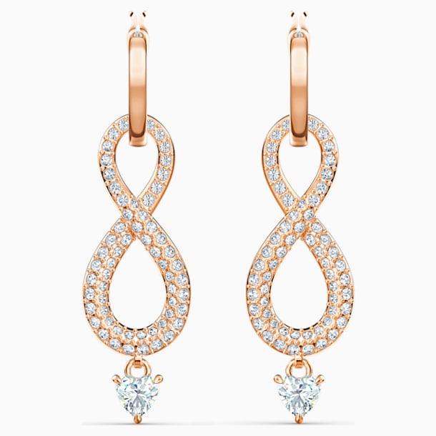 Swarovski Infinity Pierced Earrings, White, Rose-gold tone plated - Swarovski, 5512625
