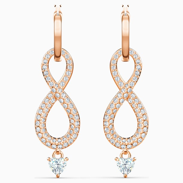 Swarovski Infinity Pierced Earrings, White, Rose-gold tone plated - Swarovski, 5512625