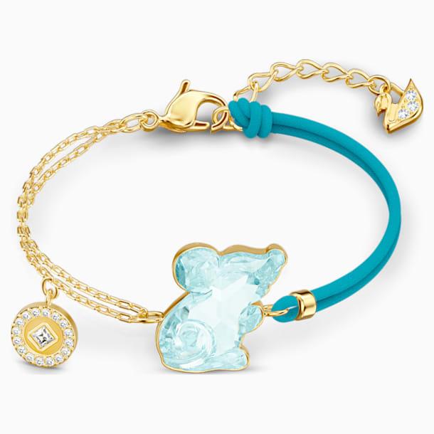 Chinese Zodiac Rat Bracelet, Aqua, Gold-tone plated - Swarovski, 5512645