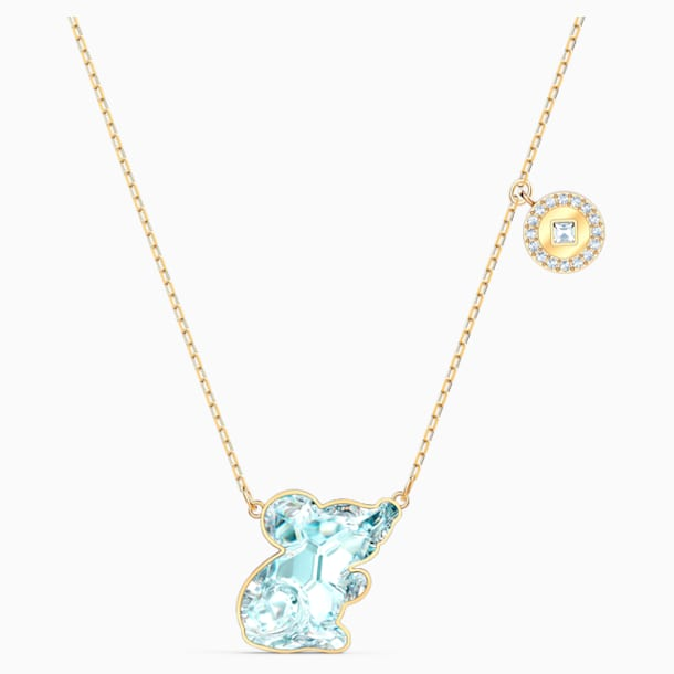 Chinese Zodiac Rat Necklace, Aqua, Gold-tone plated - Swarovski, 5512646