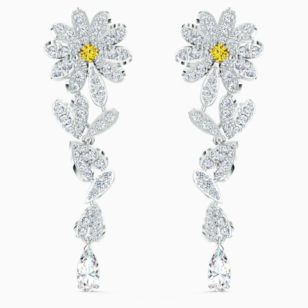 Τρυπητά σκουλαρίκια Eternal Flower, Κίτρινο, μεικτό μεταλλικό φινίρισμα - Swarovski, 5512655