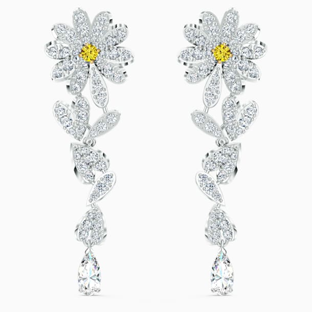 Eternal Flower Pierced Earrings, Yellow, Mixed metal finish - Swarovski, 5512655