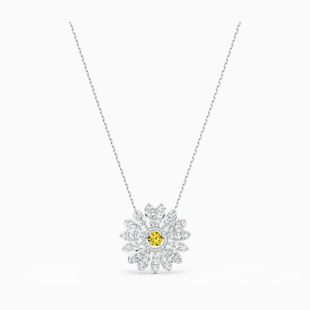 Eternal Flower Pendant, Yellow, Rhodium plated - Swarovski, 5512660
